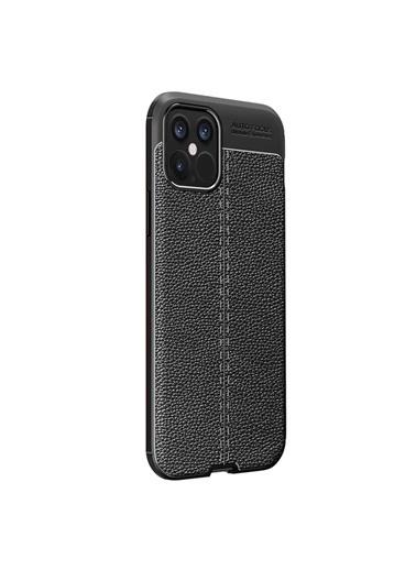 Microsonic Apple iPhone 12 Pro Kılıf Deri Dokulu Silikon Siyah